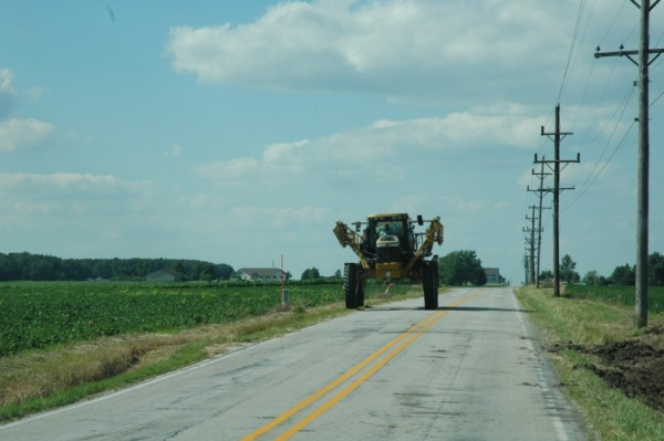 Crop sprayer coming down the road